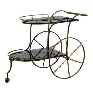 Italian Style Brass Bar Cart For Sale