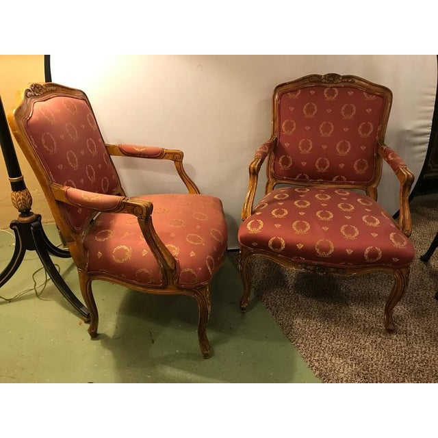 1940s Open Arm Louis XV Style Feuteuil Chairs - a Pair For Sale - Image 5 of 9