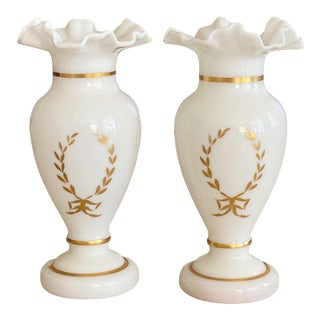 Antique White and Gilt Opaline Vases - a Pair For Sale