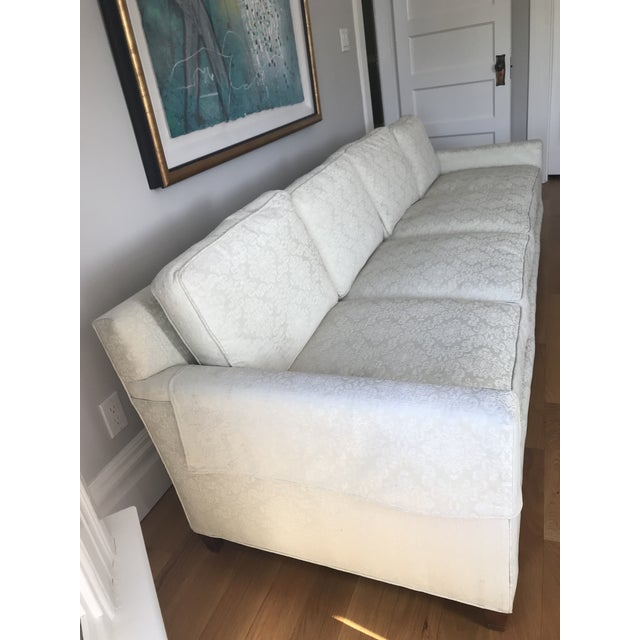 Contemporary Mid-Century Cream Jacquard Upholstered Sofa For Sale - Image 3 of 8