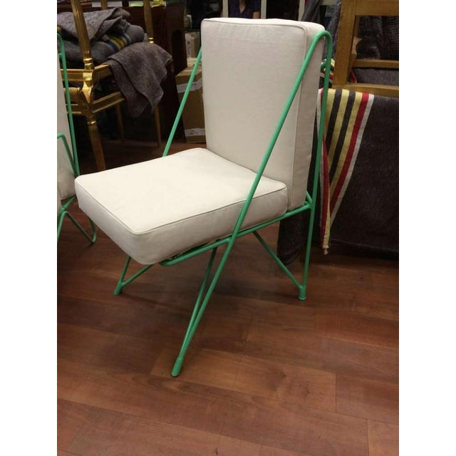 Canvas Raoul Guys Rare Set of Four Aqua Metal Chairs, Newly Recovered in Canvas Cloth For Sale - Image 7 of 8