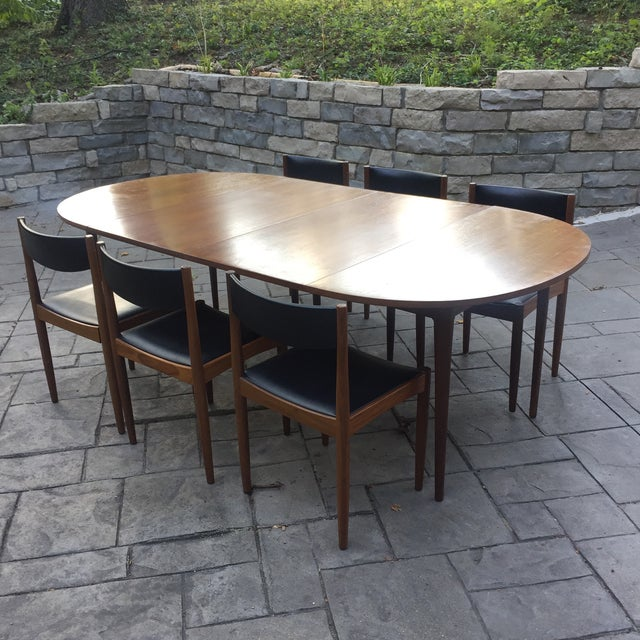 Walnut Mid Century Modern Dining Table With Two Leafs - Image 10 of 11
