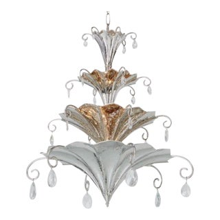 Global Views Modern Nickel Chinoise Chandelier For Sale
