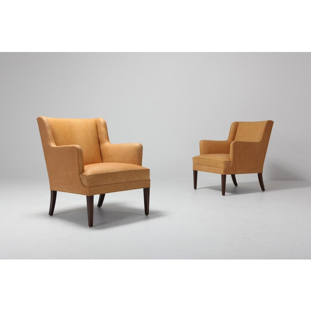 Scandinavian Modern Bergere Chairs in Camel Leather For Sale - Image 6 of 11