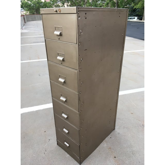 1930s Art Metal Industrial 7-Drawer Vertical File For Sale - Image 13 of 13