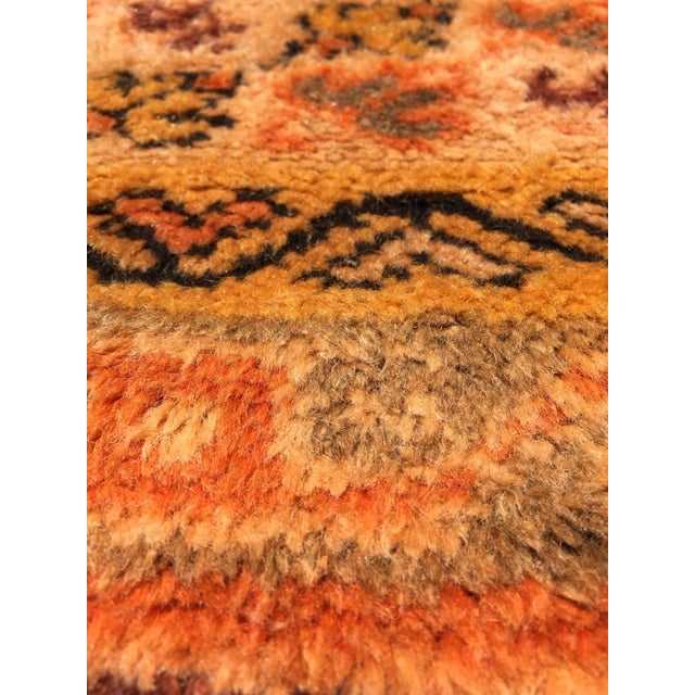 African Vintage Mid Century Moroccan Orange Tribal African Pile Rug- 6′7″ × 16′5″ For Sale - Image 3 of 12