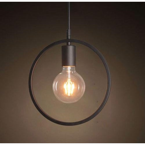 Black Wrought Iron Industrial Pendant Light - Image 2 of 2