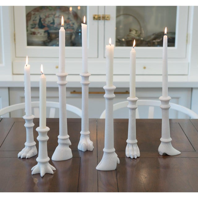 Stone Lion Foot Solid Marble Candlestick Holder, Matching Pair For Sale - Image 7 of 9