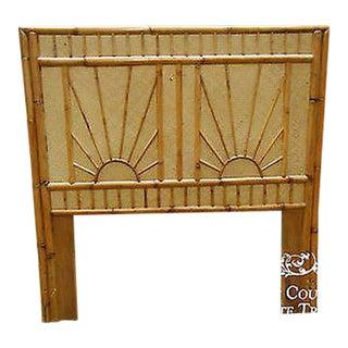 Vintage Rattan Bamboo Sunburst Design Twin Size Bed Headboard For Sale