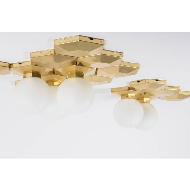 Abstract Multiple Brass and Glass Flush Mounts for Modular Installation For Sale - Image 3 of 9