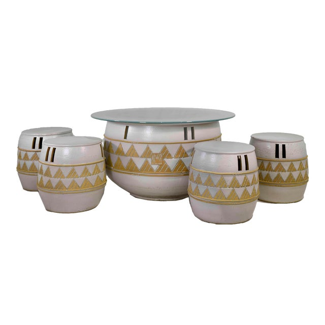 Vintage Korean Ceramic Outdoor/Indoor Table With 4 Stools by Woon Bo Ceramic Lab Kim Ki-Chang For Sale
