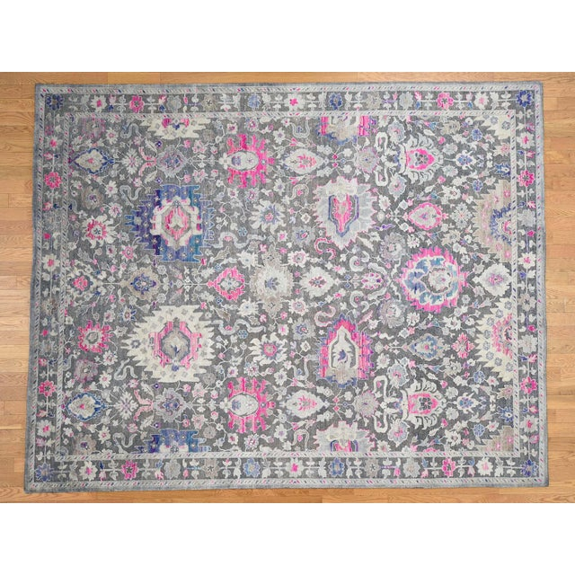 Sari Silk With Oxidized Wool Hand Knotted Oushak Runner- 8′1″ × 10′2″ For Sale - Image 13 of 13
