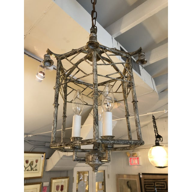1940s Pagoda Style Iron & Tole Lantern Pendant Chandelier For Sale - Image 5 of 9