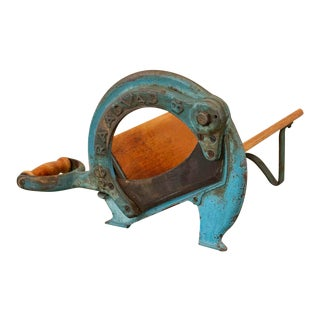 Vintage Original Blue Painted Danish Raadvad Bread Cutter For Sale