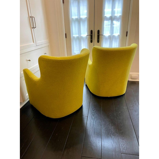 Contemporary Lee Industries Swivel Arm Chairs in Chartreuse - A Pair For Sale - Image 3 of 7