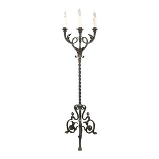 Antique Hand Forged Wrought Iron Floor Lamp For Sale