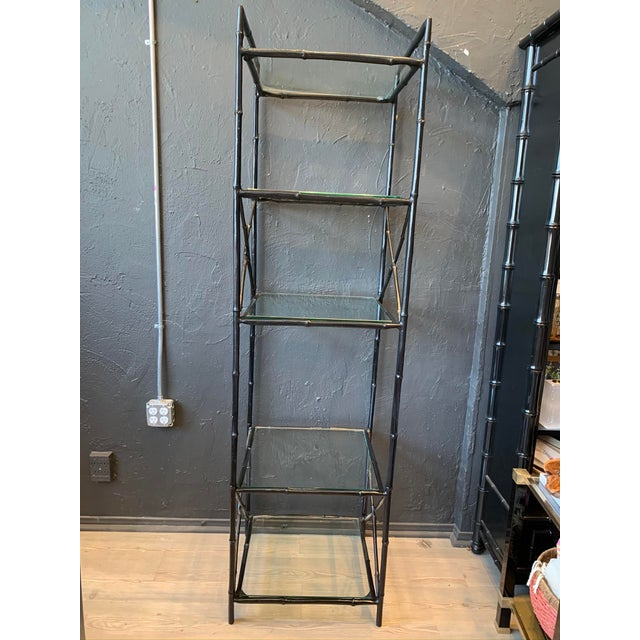Vintage 5 Tier Faux Bamboo Metal Shelving For Sale In Los Angeles - Image 6 of 6