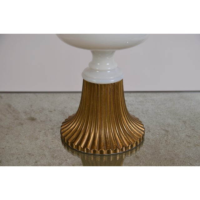 Tony Duquette Elegant Gilt Bronze and Opaline Tassel Lamp in the Style of Tony Duquette For Sale - Image 4 of 10