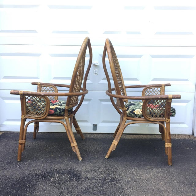 Vintage Modern Bamboo & Rattan High Back Chairs For Sale - Image 5 of 11