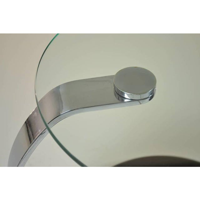 Black Pair of Modernist Chrome and Glass Tables For Sale - Image 8 of 10