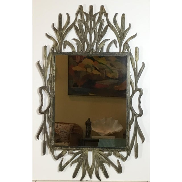 Abstract Abstract Hollywood Regency Iron Cat Tail Wall Mirror For Sale - Image 3 of 13