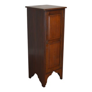 Antique 19th Century Walnut Narrow One Door Chimney Cabinet Cupboard For Sale
