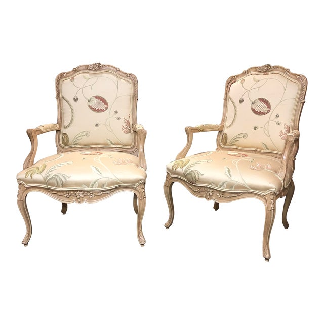 French Louis XV Style Polychromed Faiteuils -A Pair For Sale