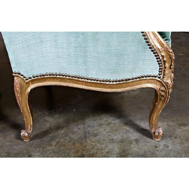 19th Century French Louis XV Style Carved Giltwood Bergeres - A Pair For Sale - Image 10 of 12