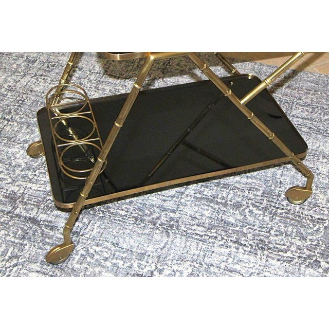 Italian Brass Faux Bamboo Bar Tea Cart For Sale - Image 11 of 13