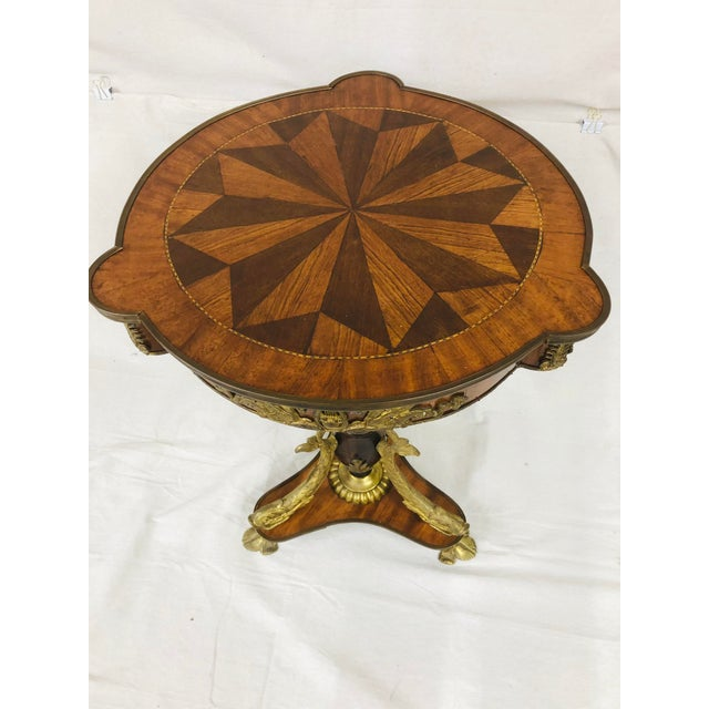 Wood Early 20th Century Empire Style Side Table With Mounted Ormolu For Sale - Image 7 of 10
