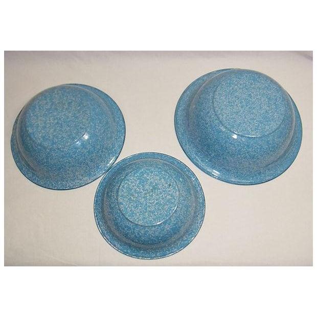 Vintage Light Blue German Enamel Bowls - Set of 3 - Image 4 of 4