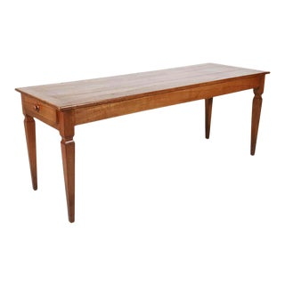 19th Century French Louis XVI Style Cherry Farm Table or Console With Drawer For Sale