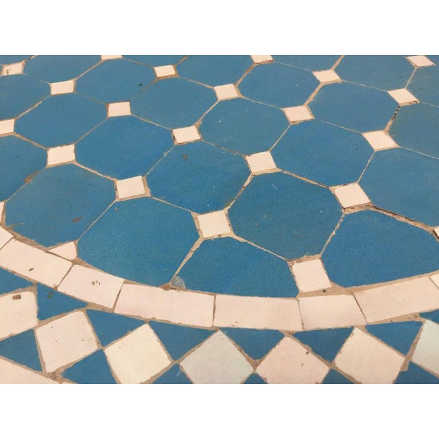 Moroccan Mosaic Blue Tile Bistro Table For Sale - Image 10 of 13