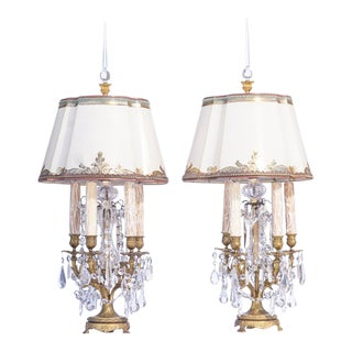 19th C. French Bronze Crystal Girandole Lamps For Sale