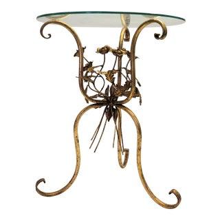 Gold Leaf Italian Roses Side Table
