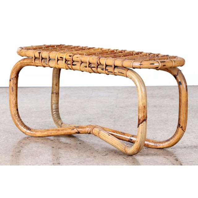 Tan 1950s Rattan Bench in the Style of Franco Albini For Sale - Image 8 of 8