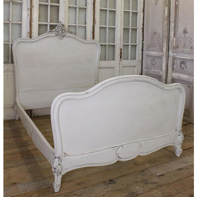 Antique French Louis XV White Walnut Bed - Image 4 of 6