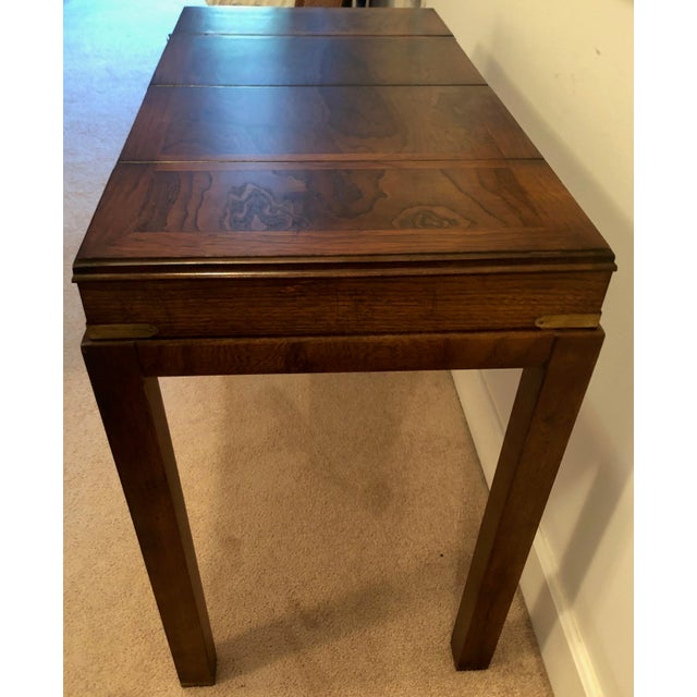 Campaign Lane Mid-Century Backgammon Campaign Console Table For Sale - Image 3 of 13
