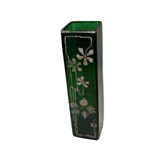 Antique Floral Gilded Green Glass Vase For Sale