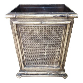 Bamboo Brown Waste Basket For Sale