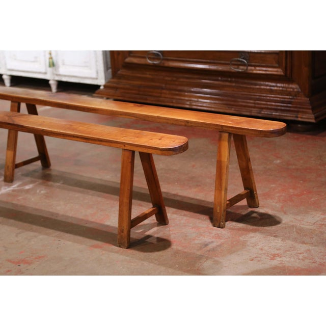 French Provincial Pair of 19th Century French Provincial Carved Cherry Wood Trestle Benches For Sale - Image 3 of 10