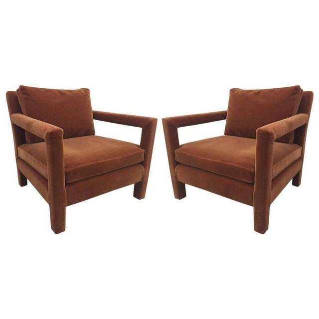 Pair of Milo Baughman Lounge Chairs in Mohair - Image 5 of 5