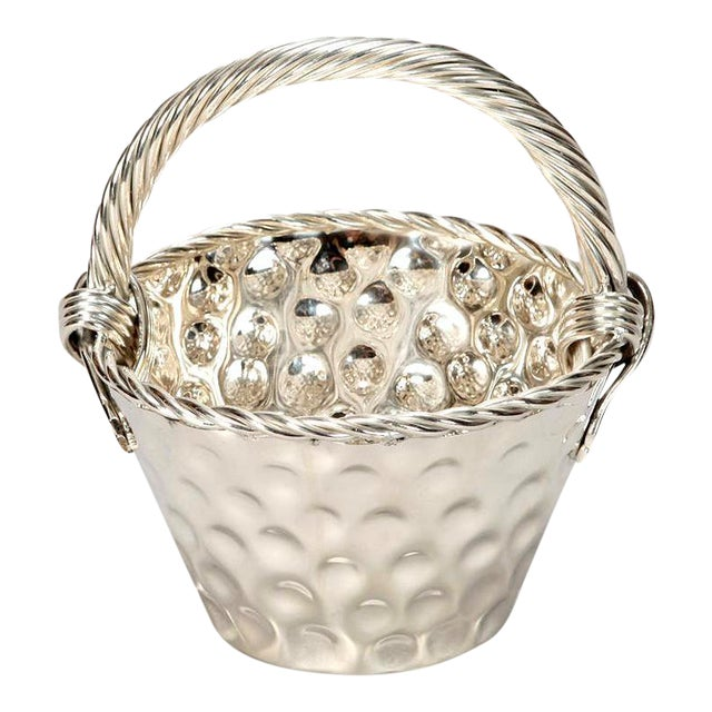 Mid Century Hammered Silver Plate Tall Handled Basket - Image 1 of 8