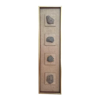Framed Ancient Mexican Stone Sculpture Fragments For Sale