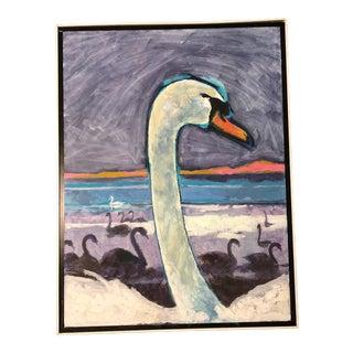Large Vintage Original Modernist Swan Painting For Sale