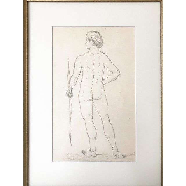 19th Century Neoclassical Drawing of a Greco Roman Male Nude For Sale In New York - Image 6 of 7