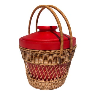 Vintage Boho Chic Woven Wicker Ice Cooler With Red Liner & Lid, C.1960 For Sale