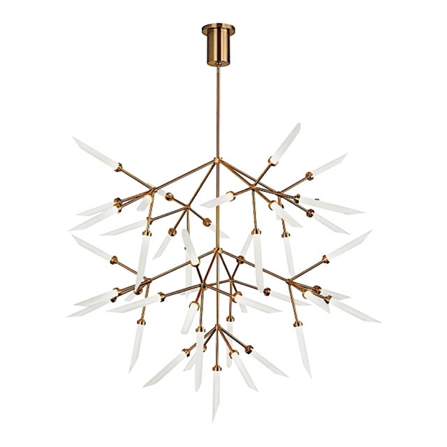 Mid-Century Moder Style Brass and Frosted Glass Sculptural Chandelier For Sale