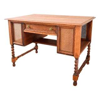 Antique Barley Twist Tiger Oak Desk For Sale