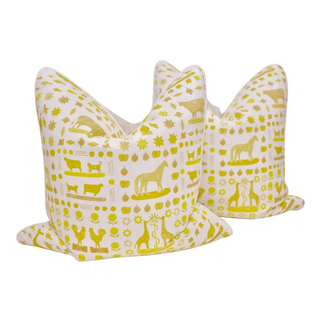 "Lulie Wallace ""Two by Two"" Square Pillows in Citron - a Pair For Sale"